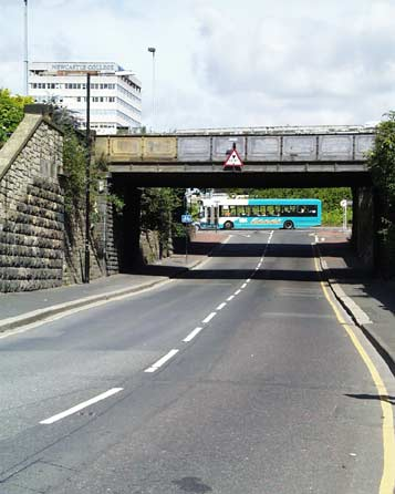 Newcastle approach road with low bridge